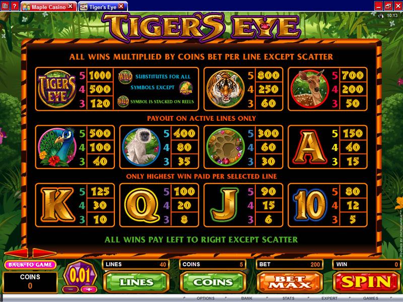 casino slot eye of the tiger