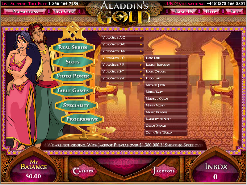 aladdins gold casino redeem coupon