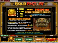Gold Factory Paytable 1