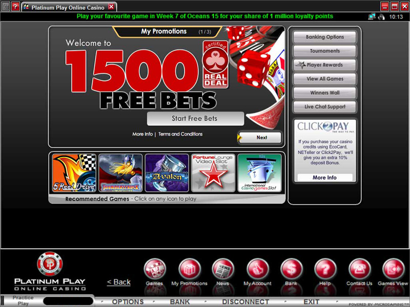platinum play casino free bonus