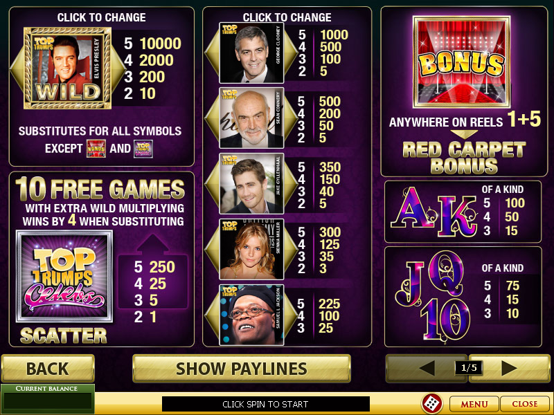 Play Top Trumps Celebs online slots at Casino.com